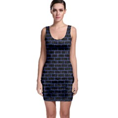 Brick1 Black Marble & Blue Brushed Metal Bodycon Dress by trendistuff