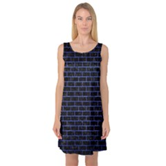 Brick1 Black Marble & Blue Brushed Metal Sleeveless Satin Nightdress by trendistuff