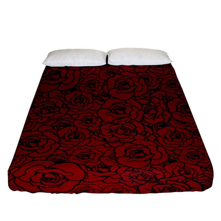 Red Roses Field Fitted Sheet (Queen Size)