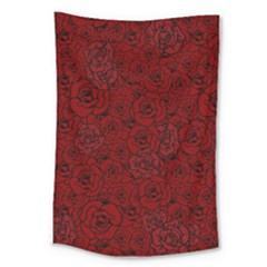 Red Roses Field Large Tapestry
