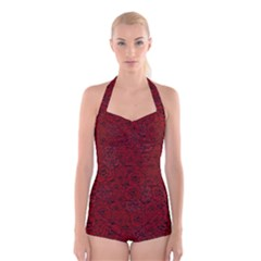 Red Roses Field Boyleg Halter Swimsuit