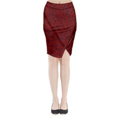 Red Roses Field Midi Wrap Pencil Skirt