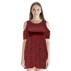 Red Roses Field Shoulder Cutout Velvet  One Piece