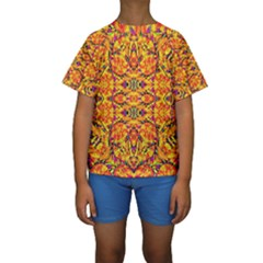 Colorful Vibrant Ornate Kids  Short Sleeve Swimwear by dflcprintsclothing