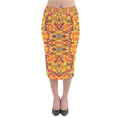 Colorful Vibrant Ornate Velvet Midi Pencil Skirt by dflcprintsclothing