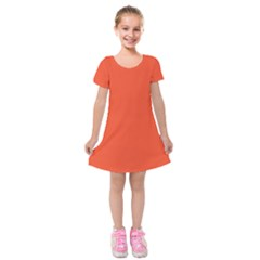 Trendy Basics   Trend Color Flame Kids  Short Sleeve Velvet Dress by tarastyle