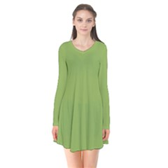 Trendy Basics   Trend Color Greenery Flare Dress by tarastyle