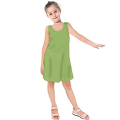 Trendy Basics   Trend Color Greenery Kids  Sleeveless Dress by tarastyle