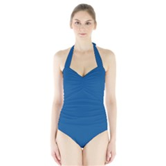 Trendy Basics   Trend Color Lapis Blue Halter Swimsuit by tarastyle