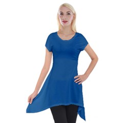 Trendy Basics   Trend Color Lapis Blue Short Sleeve Side Drop Tunic by tarastyle