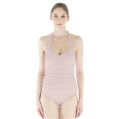 Trendy Basics   Trend Color Pale Dogwood Halter Swimsuit by tarastyle