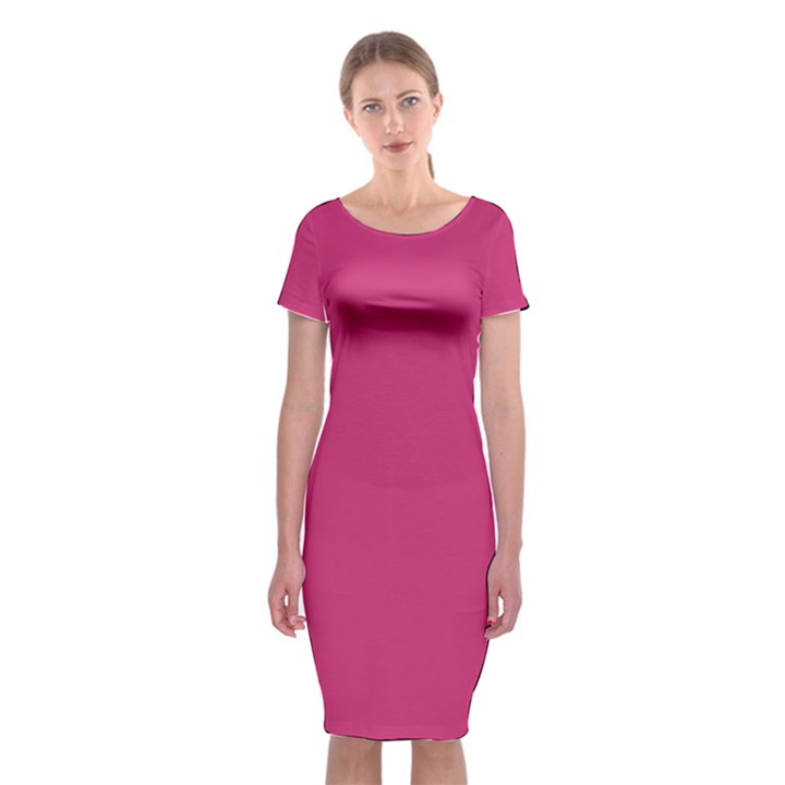 Trendy Basics - Trend Color PINK YARROW Classic Short Sleeve Midi Dress