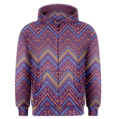 Colorful Ethnic Background With Zig Zag Pattern Design Men s Zipper Hoodie by TastefulDesigns