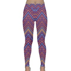 Colorful Ethnic Background With Zig Zag Pattern Design Classic Yoga Leggings
