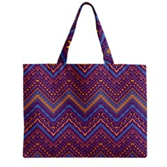Colorful Ethnic Background With Zig Zag Pattern Design Zipper Mini Tote Bag by TastefulDesigns