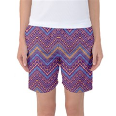 Colorful Ethnic Background With Zig Zag Pattern Design Women s Basketball Shorts by TastefulDesigns
