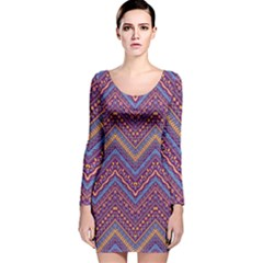Colorful Ethnic Background With Zig Zag Pattern Design Long Sleeve Velvet Bodycon Dress by TastefulDesigns