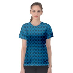 Lion Vs Gazelle Damask In Teal Women s Sport Mesh Tee