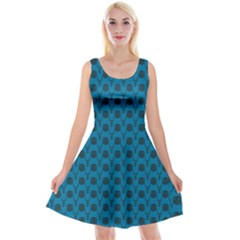 Lion Vs Gazelle Damask In Teal Reversible Velvet Sleeveless Dress