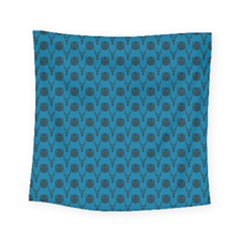 Lion Vs Gazelle Damask In Teal Square Tapestry (small)