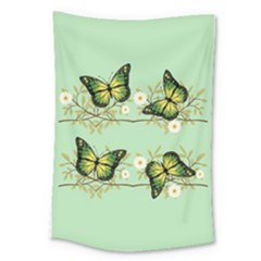 Four Green Butterflies Large Tapestry by linceazul