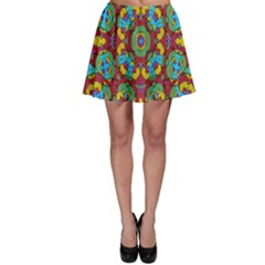 Geometric Multicolored Print Skater Skirt by dflcprintsclothing