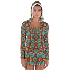 Geometric Multicolored Print Women s Long Sleeve Hooded T Shirt by dflcprintsclothing