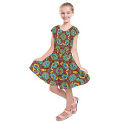 Geometric Multicolored Print Kids  Short Sleeve Dress by dflcprintsclothing