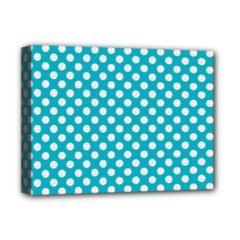 Sleeping Kitties Polka Dots Teal Deluxe Canvas 16  X 12   by emilyzragz