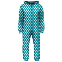 Sleeping Kitties Polka Dots Teal Hooded Jumpsuit (ladies)