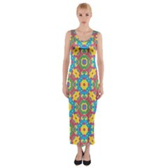 Geometric Check Multicolored Pattern Fitted Maxi Dress by dflcprintsclothing