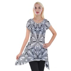 Modern Oriental Ornate Short Sleeve Side Drop Tunic by dflcprintsclothing