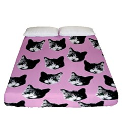 Cat Pattern Fitted Sheet (queen Size) by Valentinaart
