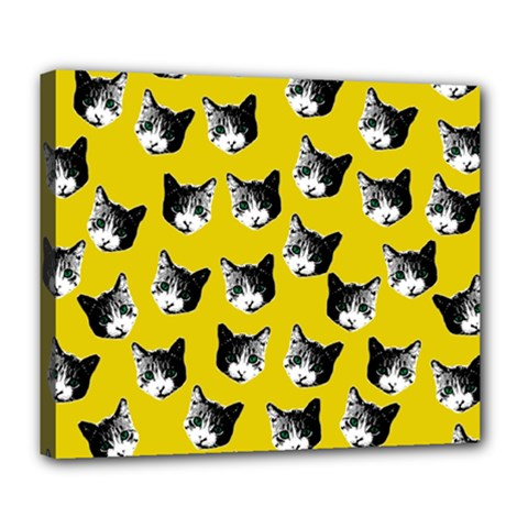 Cat Pattern Deluxe Canvas 24  X 20   by Valentinaart