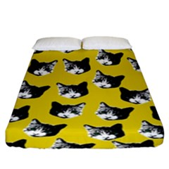 Cat Pattern Fitted Sheet (king Size) by Valentinaart