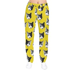 Cat Pattern Drawstring Pants by Valentinaart