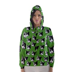 Cat Pattern Hooded Wind Breaker (women) by Valentinaart