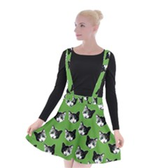 Cat Pattern Suspender Skater Skirt