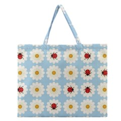 Ladybugs Pattern Zipper Large Tote Bag by linceazul