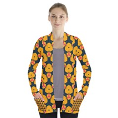 Yellow Pink Shapes Pattern   Women s Open Front Pockets Cardigan