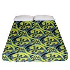 Black And Yellow Pattern Fitted Sheet (queen Size) by linceazul