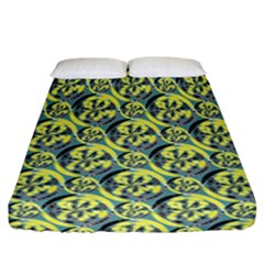 Black And Yellow Pattern Fitted Sheet (california King Size) by linceazul
