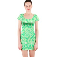 Kiwi Green Geometric Short Sleeve Bodycon Dress by linceazul