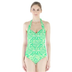 Kiwi Green Geometric Halter Swimsuit by linceazul