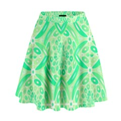 Kiwi Green Geometric High Waist Skirt by linceazul