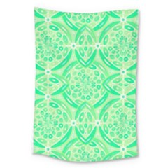 Kiwi Green Geometric Large Tapestry by linceazul