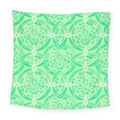 Kiwi Green Geometric Square Tapestry (large) by linceazul