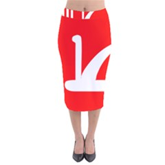 Flag Of Indian State Of Jammu And Kashmir  Velvet Midi Pencil Skirt by abbeyz71