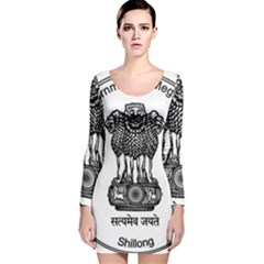Seal Of Indian State Of Meghalaya Long Sleeve Velvet Bodycon Dress