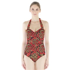 Red And Brown Pattern Halter Swimsuit by linceazul
